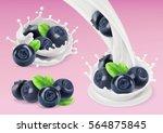 milk splash and blueberry  3d... | Shutterstock .eps vector #564875845
