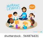 smiling kindergarten teacher... | Shutterstock . vector #564876631