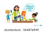 cute girls and boys help their... | Shutterstock . vector #564876949
