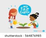 my first garden concept. cute...   Shutterstock . vector #564876985