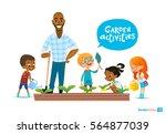 teacher and kids engaged... | Shutterstock . vector #564877039