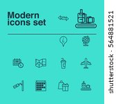 set of 12 travel icons.... | Shutterstock .eps vector #564881521