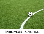 football on soccer field with curve line - stock photo