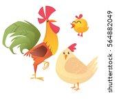 cartoon illustration of rooster ... | Shutterstock .eps vector #564882049