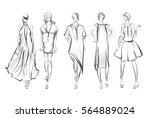 sketch. fashion girls on a... | Shutterstock .eps vector #564889024