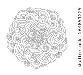 Graphic Mandala With Waves And...