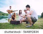 young people in nature enjoy...   Shutterstock . vector #564892834