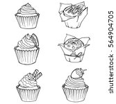 sketch cupcakes and muffins.... | Shutterstock .eps vector #564904705