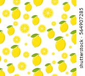 seamless pattern with lemon and ... | Shutterstock .eps vector #564907285