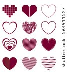 set of hand drawn hearts ... | Shutterstock .eps vector #564911527