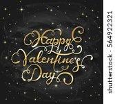 golden lettering happy... | Shutterstock .eps vector #564922321