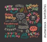 set of happy birthday hand... | Shutterstock .eps vector #564926761