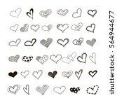 hand drawn hearts. design...   Shutterstock .eps vector #564944677