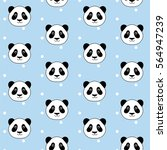 cute panda head on white dots... | Shutterstock .eps vector #564947239