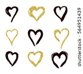 set of doodle hearts in style ... | Shutterstock .eps vector #564951439