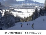 ski run in bavaria overlooking... | Shutterstock . vector #564951739