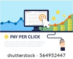 pay per click flat style vector ... | Shutterstock .eps vector #564952447