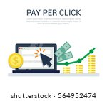pay per click flat style vector ... | Shutterstock .eps vector #564952474