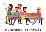 cartoon bright color hipsters... | Shutterstock .eps vector #564954151