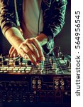 dj playing music at mixer... | Shutterstock . vector #564956545