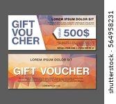 gift voucher with polygonal... | Shutterstock .eps vector #564958231