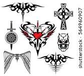 black red white tattoo set...   Shutterstock .eps vector #564960907