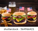 american burger and a glass of... | Shutterstock . vector #564966421