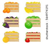 wooden boxes with fresh fruits | Shutterstock .eps vector #564974191