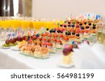 delicious appetizer canapes...   Shutterstock . vector #564981199
