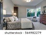 cozy bedroom interior features... | Shutterstock . vector #564982279