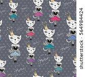 fashion cat vector pattern  ...   Shutterstock .eps vector #564984424