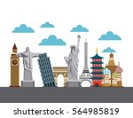 iconic monuments of the world... | Shutterstock .eps vector #564985819