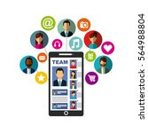 smartphone device with social... | Shutterstock .eps vector #564988804