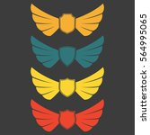 wings icon set with shields... | Shutterstock .eps vector #564995065