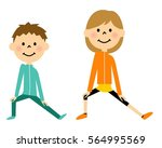 children to prepare exercise | Shutterstock .eps vector #564995569