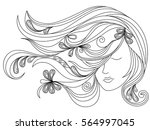 beautiful female head with long ... | Shutterstock .eps vector #564997045