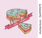 happy birthday cake with...   Shutterstock .eps vector #564999079