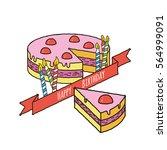 happy birthday cake with...   Shutterstock .eps vector #564999091