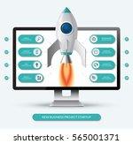 new business project start up... | Shutterstock .eps vector #565001371