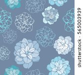 hand drawn seamless floral... | Shutterstock .eps vector #565003939