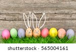 Easter Eggs Cute Bunny. Funny...