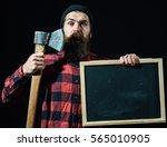 surprised man or lumberjack ... | Shutterstock . vector #565010905