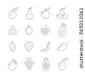 basic fruits thin line icons... | Shutterstock .eps vector #565011061