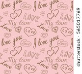 seamless pattern of hearts and... | Shutterstock .eps vector #565017769