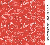seamless pattern of hearts and... | Shutterstock .eps vector #565017775