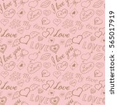 seamless pattern of hearts and... | Shutterstock .eps vector #565017919
