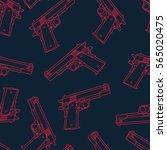 guns pistols seamless pattern.... | Shutterstock .eps vector #565020475