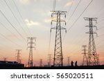 electricity pylons and power...