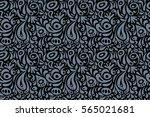 damask seamless floral... | Shutterstock . vector #565021681