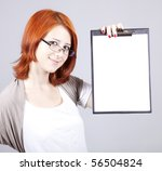 Young businesswomen with white plan board. - stock photo